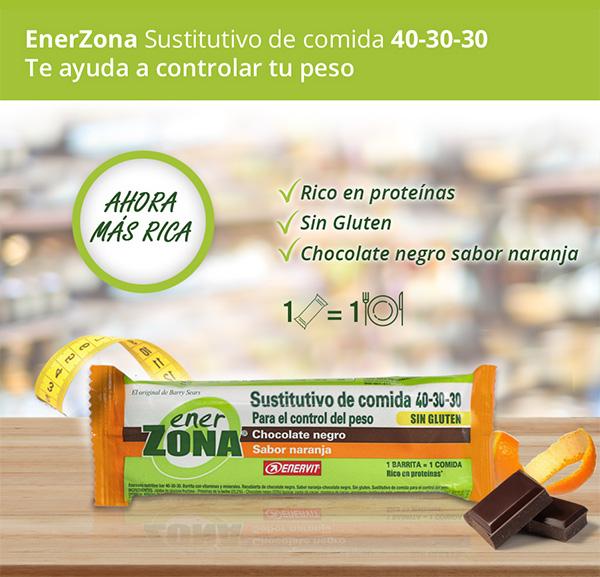 EnerZona Sustitutivo de comida 40-30-30. Te ayuda a controlar tu peso. Rico en proteínas, sin gluten y chocolate negro sabor naranja. 1 barrita = 1 comida. ¡Ahora más rica!