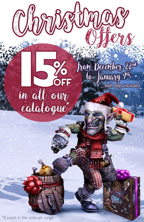 15% off. Xmas Offers. From december 22nd to January 7th