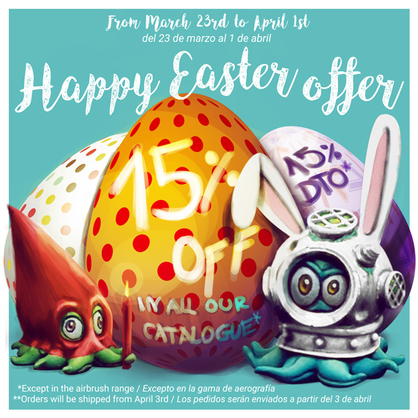 15% off in all our catalogue. Happy Easter Offer. From March 23rd to April 1st