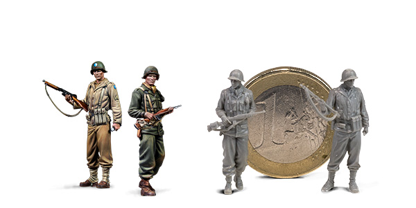 Us Army ETO, 2 FIGURES 1/72 SCALE