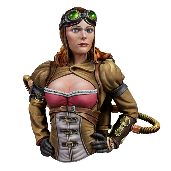 1:12 scale resin bust. Captain Amelia Steam, Naughty gears series