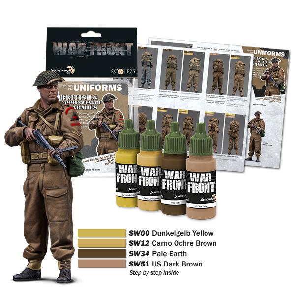 New paint set for British & Commonwealth armies. 4 acrylic colors. Matt finish. Warfront series