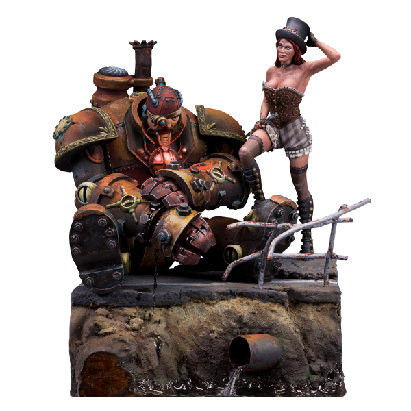 75mm scale resin figure. Liz Coppercotton & George Steelheart, Steam Wars series