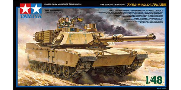 M1A2 Abrams. 1:48 scale. Plastic model kit. Tamiya