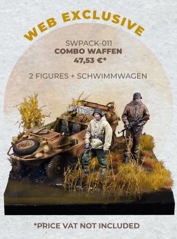 WAFFEN SOLDIERS + SCHWIMMWAGEN • WARFRONT • 1/35 SCALE FIGURES + PLASTIC MODEL